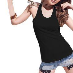 Allegra K Lady Sleeveless Scoop Neck Sheer Crochet Back Ribbing Tank Top Black XS Allegra K. $7.91