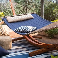 Island Bay 13 ft. Unwind Quilted Hammock with Russian Pine Stand - Hammock and Stand Sets at Hayneedle
