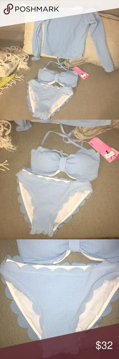 NWT sky blue bikini with cover up top! Gorgeous bikini - brand new with tags! Tagged Victoria's Secret for visibility - NOT vs brand. Even includes a cover up off the shoulder top. Scalloped edges. Totally on trend. 3 sizes and colors available (red, sky blue and black), sizes S M and L. S can also fit xs, these run about half size smaller. Victoria's Secret Swim Bikinis