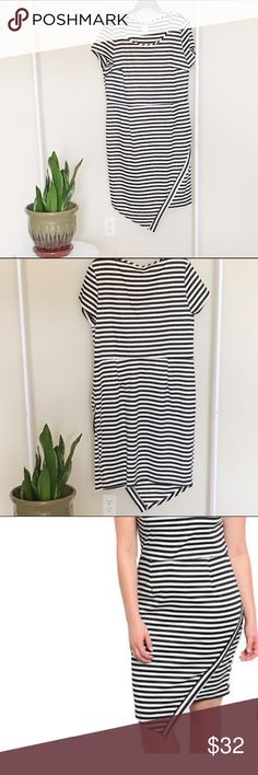 ✨hp✨ LOWEST PRICE. Plus Size Stripped Dress Black and white horizontal stripped asymmetric dress. This is NWOT; it has never been worn. Dresses Asymmetrical