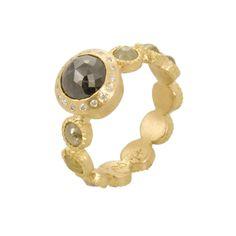18ky gold, natural colored black rose cut diamond center stone (1.94ctw), natural colored rose cut diamonds(1.9ctw), white brilliant cut diamonds