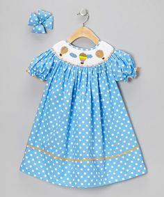 Love this Blue Balloon Dress & Bow Clip - Infant, Toddler & Girls by Molly Pop Inc. on #zulily! #zulilyfinds