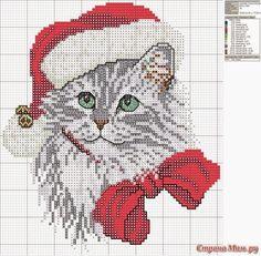 schema punto croce gattino natalizio | Hobby lavori femminili - ricamo - uncinetto - maglia