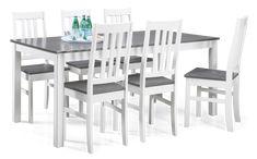 VIVA-ruokaryhmä 6 tuolilla 90 x 170 cm (Valkoinen/Harmaa)