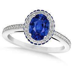 Women's Oval Blue Sapphire Diamond Halo Engagement Ring 14k White Gold 2.00ct