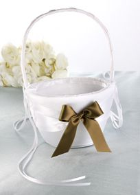 """Satin flower girl basket finished with a dainty bow in the DB Exclusive satin ribbon color of your choice!  Features and Facts:  Measures 9.5"""" tall.  Available in White only.  View Ribbon Colors"""
