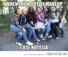use nutella for make up, funny girls - Dump A Day Funny Shit, Funny Cute, The Funny, Funny Stuff, Funny Things, Stupid Things, Funny Humor, Awesome Stuff, Random Stuff