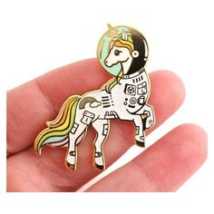 Unicorn enamel pin, Gold glitter lapel pin, astronaut pin, space... ❤ liked on Polyvore featuring jewelry, brooches, gold jewelry, yellow gold jewelry, unicorn jewellery, pin brooch and enamel jewelry