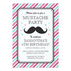 Pink aqua stripes mustache bash birthday party card