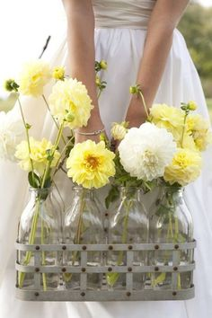 Incredible Milk Bottle Centerpieces For Your Wedding Party Milk Bottle Centerpiece, Centerpiece Ideas, Wedding Centerpieces, Yellow Cottage, Milk Crates, Yellow Springs, Holding Flowers, Shades Of Yellow, Mellow Yellow