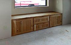 rustic style bay window seats | quartersawn oak window seat mission stain mission style window seat