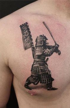 Samurai chest tattoo - Although it's a small piece, but this samurai tattoo have amazing details! I want one for myself! #TattooModels #tattoo