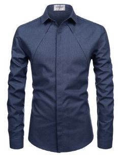 (NKS671) TheLees Mens Slim Fit Western Style Chest Line Hidden Buttons Shirts