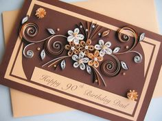 Happy 90th Birthday Card  Handmade Paper Quilling by stoykasart