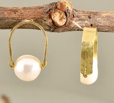 Brass hammered stud earrings with flat white fresh water pearl by NataliaNorenasilver on Etsy