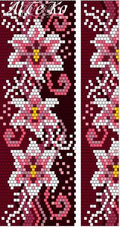 Схемы жгутов от Альбины Тезиной АльТеКо Peyote Stitch Patterns, Bead Crochet Patterns, Bead Crochet Rope, Beaded Bracelet Patterns, Beading Patterns, Bead Loom Designs, Seed Bead Flowers, Beaded Banners, Peyote Beading