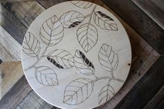 Getting Ready for fall! Falling Leaves Lazy Susan - Hand etched/burned leaf design