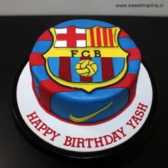 Barcelona FCB Football theme small customized designer fondant birthday cake with FCB logo at Pune
