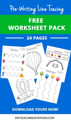 **FREE** Pre-Writing Line Tracing Worsheet Pack - 24 pages of fun of…