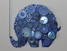Blue baby elephant with balloon button art by BeadsButtons4Crafts