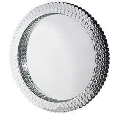 Silver Patterned Round Wall Mirror