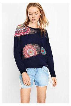 Blue sweater with a print - Peñiscola   Desigual.com D