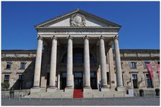"""WIESBADEN (GERMANY): The imposing Ionic portal of the Spa House bears the Wiesbaden coat of arms with its three lilies and the phrase """"Aquis Mattiacis"""" i.e. dedicated to the waters of the Mattiaci."""