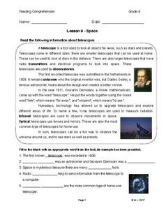 This lesson is adjusted for fourth grade reading level. The theme is space and the topic is the telescope. Students will be introduced to telescopes and also understand how the word was created. Furthermore, a section is provided to review past vocabulary taught throughout these lessons.