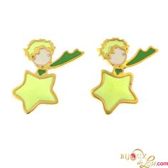 Little Prince Earrings: These earrings make an ideal gift for the Little Prince fan. Gold plated and hand painted in colorful enamel. Matching necklace and ring sold separately.