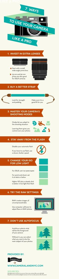 Improve your photography by disabling your automatic flash! If you have to use flash, use a slower shutter speed. Take a look at this Bethpage camera shop infographic to get more tips that can help improve your photography.