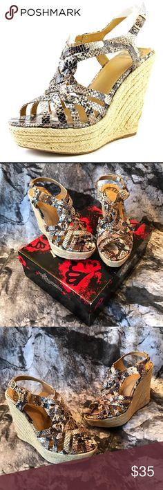 "NWT NIB Snakeskin & Espadrille Inspired Wedge NWT NIB Snakeskin & Espadrille Inspired Wedge by Fergalicious. Toe platform = 1 1/2"" Heel = 5"" Fergalicious Shoes Wedges"