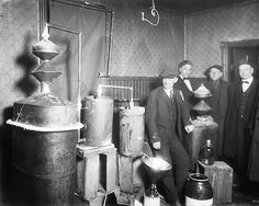 Homemade liquor still ca. 1920  Many Americans experimented with homemade stills to make alcohol for home consumption or to sell illegally during Prohibition  Source: Walter P. Reuther Library, Wayne State University