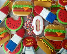 BBQ Cookies~ By Oh Sugar Events: BBQ Cookies, multi, hot dog, hamburger, grill, popsicle