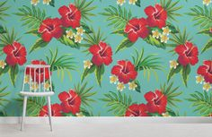 Turquoise Hibiscus Print Wallpaper, custom made to suit your wall size by the UK's for wall murals. Custom design service and express delivery available. Large Floral Wallpaper, Flower Wallpaper, Fall Wallpaper, Print Wallpaper, Irises, Art Anime, Designer Wallpaper, Hibiscus, Wall Murals
