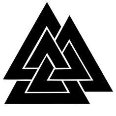 Валькнут.  Валькнут - магический символ, переплетение трех треугольников. Валькнут - символ Одина и связанной с ним магии, символ переходов (мостов) между мирами. Каждый из треугольников Валькнута соответствует трем вертикальным мирам: один - Асгарду или Альфхейму (верхний мир), другой - Мидгарду (средний мир), третий - Хелл или Свартальфхейму (нижний мир)