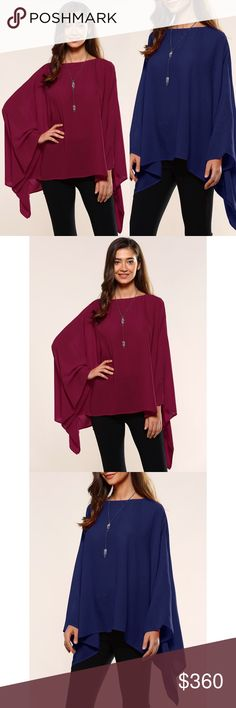 """Coming Soon!! Asymmetrical Smock Blouse Brand new asymmetrical smock blouse in a wine red color. Very flowy and super comfortable.   One size fits most Length: 24.6"""" / Sleeve Length: 23.5""""   Bundle and save! 💰10% off the purchase of 2 items 💰💰 15% off the purchase of 3+ items   ❓Questions? Please reach out and ask - I'm here to help 😊 Tops Blouses"""
