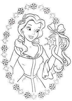princess belle love to get gifts in christmas day coloring pages christmas coloring pages kidsdrawing free coloring pages onli