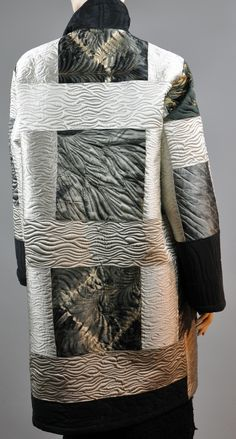 Pieced and Quilted Long Overlap coat    2013  Silk charmeuse Arashi Shibori SOLD