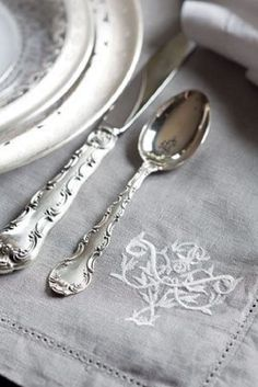 Silver and White - Tea Time Magazine. Strasbourg,my silver pattern. Tea Time Magazine, French Grey, French Style, Grey Houses, French Cottage, Cozy Cottage, Linens And Lace, Shades Of Grey, Fifty Shades
