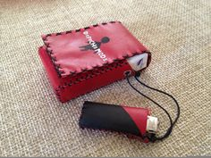CUSTOM ORDERS ONLY!  Cigarette Pouch from red, genuine leather. Painted with special leather colours . It comes with an extra case for lighter.  The item is 100% handmade.    Dimensions: 5.5cm x 2.2cm x 8.8cm