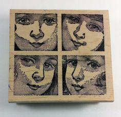 """Magenta Vintage """"4 LITTLE GIRLS"""" Rubber Stamp Child Faces Large Background #Magenta #Background"""
