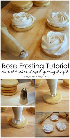 Rose Cookies Tutorial Rose Frosting Tutorial: Step by step instructions on how to make perfect roses out of frosting!Rose Frosting Tutorial: Step by step instructions on how to make perfect roses out of frosting! Icing Tips, Frosting Tips, Frosting Recipes, Icing Recipe, Cake Decorating Techniques, Cake Decorating Tutorials, Cookie Decorating, Decorating Cakes, Baking Recipes