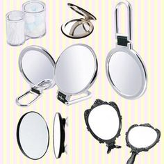 Gmarket - Shiny silver Folding Hand Mirror with magnifying glass/magnifier/magnifying mirror/접이식 확대 손거울/확대거울/확대경/탁상거울/화장거울/개업선물/답례품