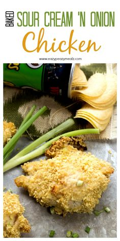 Crunchy sour cream and onion Pringles® coated baked chicken breasts, perfect for feeding a crowd. Baked Sour Cream and Onion Chicken - Eazy Peazy Mealz