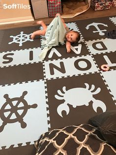 Add a personalized touch to your child's play area by designing a custom baby play mat! Visit SoftTiles to view the options that are available online. Kids Play Area, Kids Room, Playroom Flooring, Build Your Own, Nautical Theme, Kids Playing, Tiles, Letters, Playroom Ideas