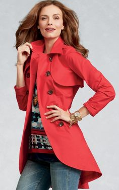 Could there be a more perfect trench?! The #CAbi Spring '13 Convertible Jacket in Poppy Red!