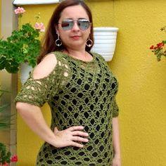 Vanessa Silva Crochê: Blusa de crochê com abertura nos ombros