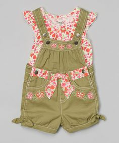 Another great find on #zulily! Pink Floral Top & Green Shortalls - Infant, Toddler & Girls by Nannette Girl #zulilyfinds