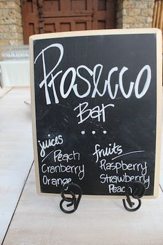 prosecco bar with fresh-squeezed juices and fruit garnishes, crave catering austin, texas 2012