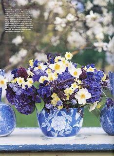 daffys, hydrangeas, and grape hyacinths from Flowers by Carolyne Roehm
